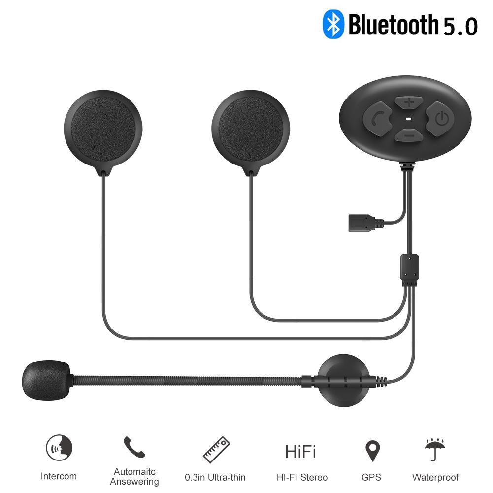 Bluetooth 5.0 Headset Motorcycle Helmet Intercom Ip65 Waterproof 1000m Intercom Headset 1PCS