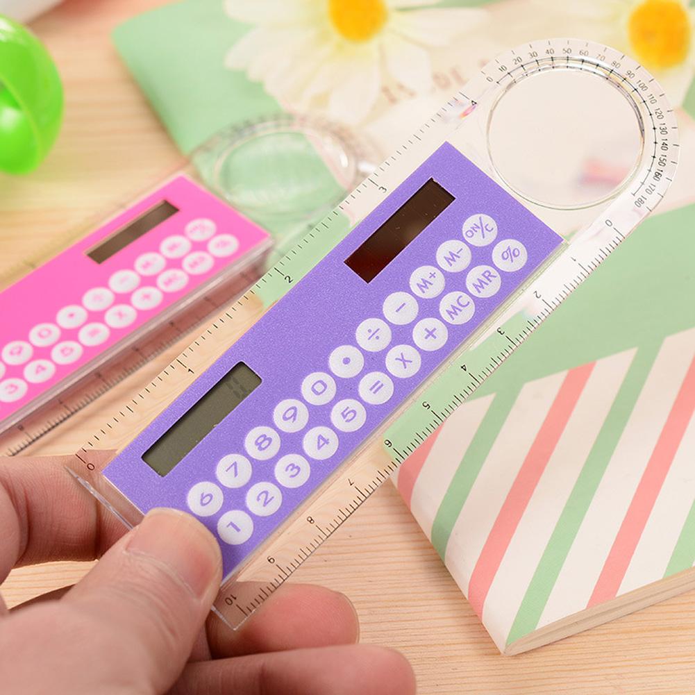 10cm Ruler Calculator Solar Card Mini Calculation Student Arithmetic Multifunctional Calculator Random Color