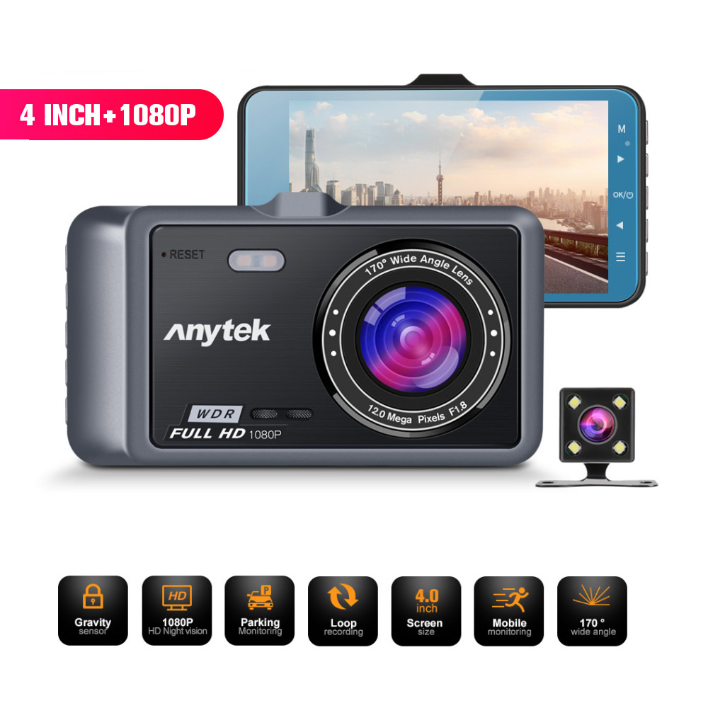 Anytek A60 4 inch IPS Screen 1080P HD 170Degree Wide Angle ADAS Dual Camera Driving Recorder Silver gray