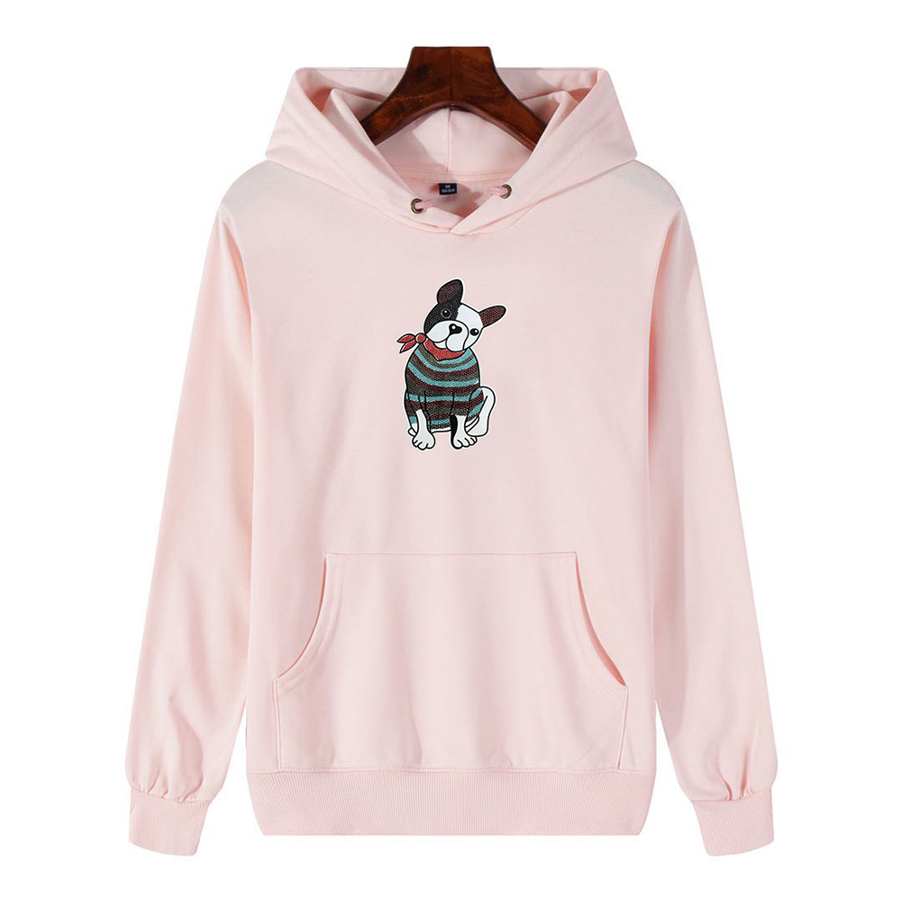 Men's Hoodie Fall Winter Cartoon Print Plus Size Hooded Tops Pink _XXL