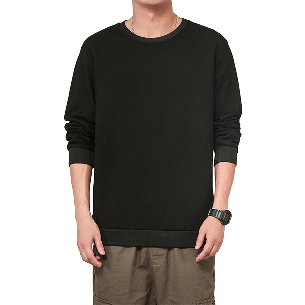 Men Spring Autumn Sweatshirts Casual Fashion Round Collar Coat black_L