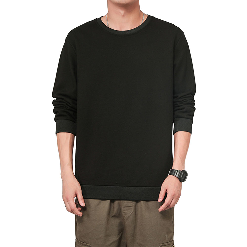 Men Spring Autumn Sweatshirts Casual Fashion Round Collar Coat black_XL