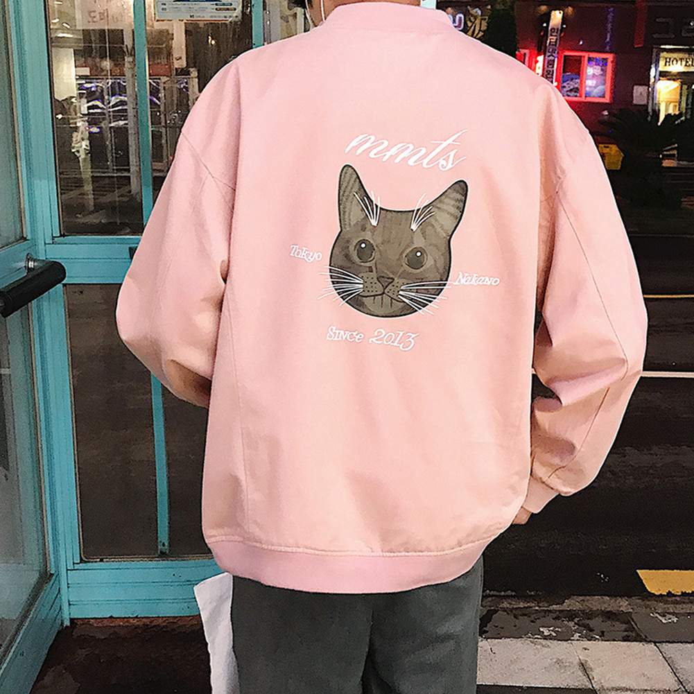 Casual Baseball Jacket with Cat Decor Long Sleeves Zippered Cardigan Top for Man Pink_M