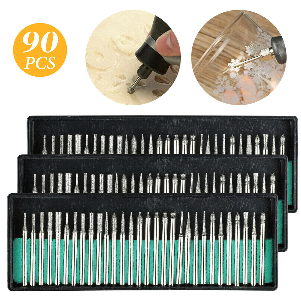 90 Pcs/set Diamond  Burr Bits Drill Set Rotary Multi Tool Accessories Kit For Dremel 3 pcs
