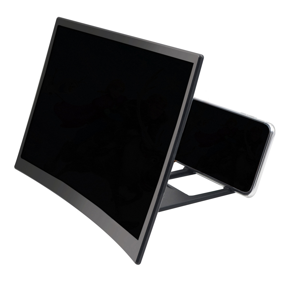 L6 12-Inch 3D Mobile Phone Screen  Magnifier Curved Screen HD Video Amplifier Black