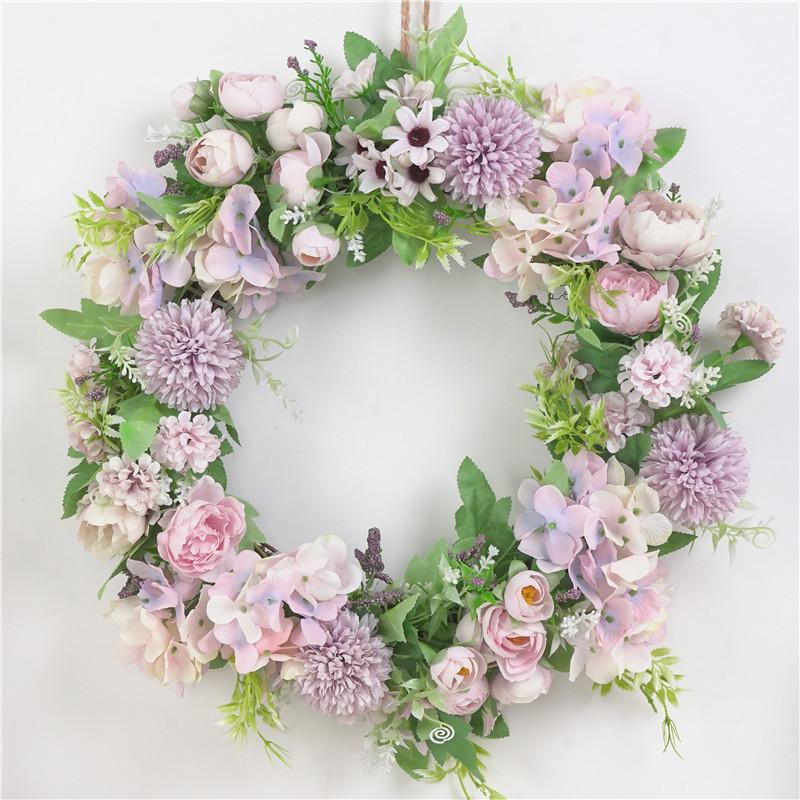 Classic Artificial Simulation Flowers Garland for Home Room Garden Door Decoration Light purple