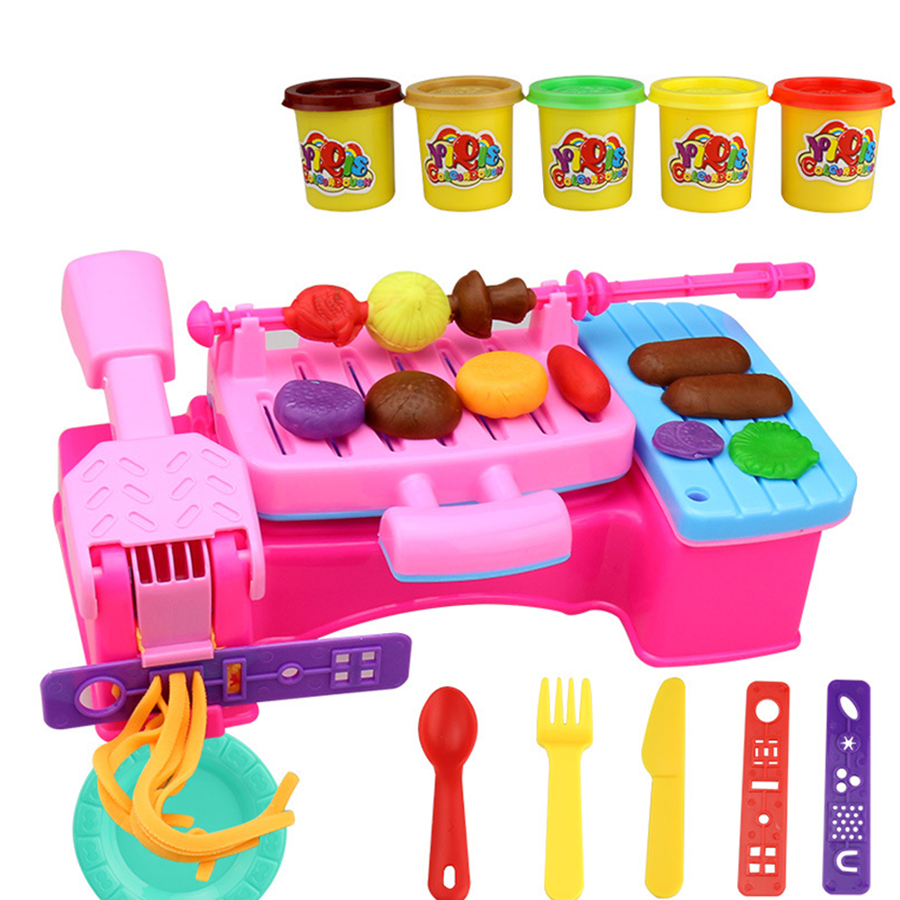Children Plasticine Mold Set Ultra-light Clay Color Handmade Mud DIY Educational Toys for Kids Barbecue machine color mud