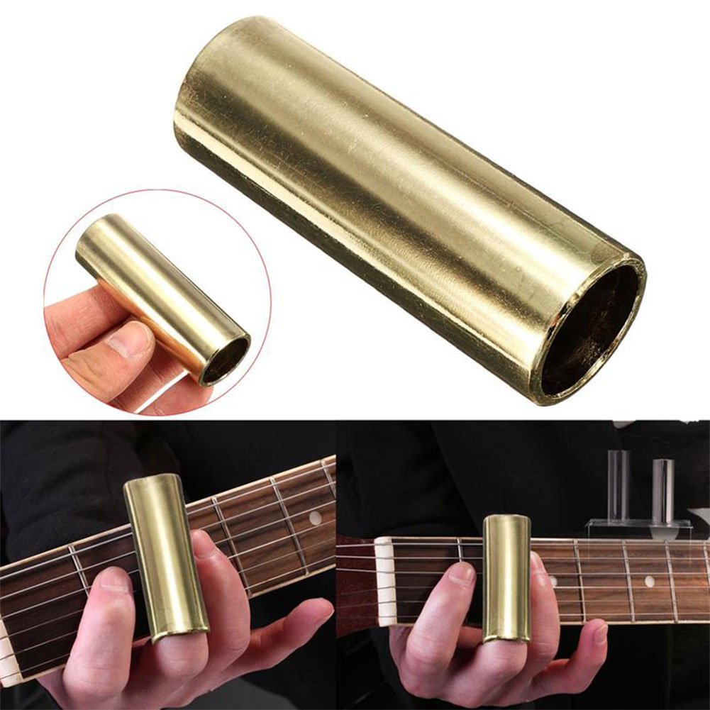 Brass Bass Guitar Slide Guitar String Finger Tube Slider for Stringed Instrument Ukulele Parts Gold_70mm length