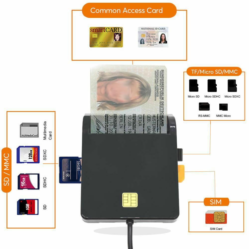 USB SIM Smart Multi Card Reader for Bank Card IC/ID  SD TF MMC Micro SD black
