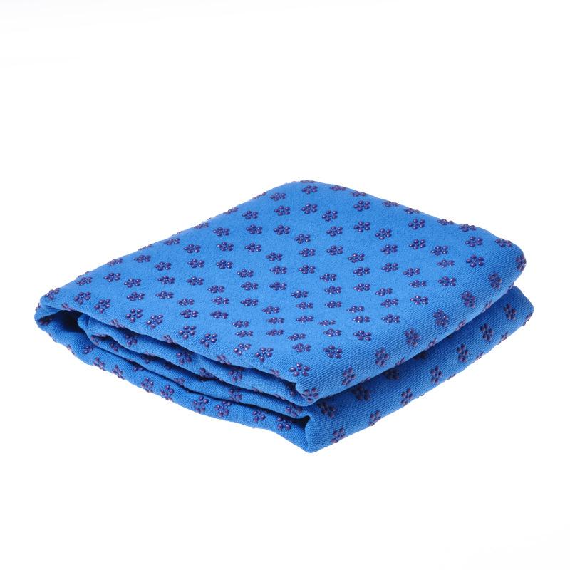 Yoga Mat Towel Non Slip Yoga Mat Cover Towel Blanket Sport Fitness Exercise Pilates Workout blue