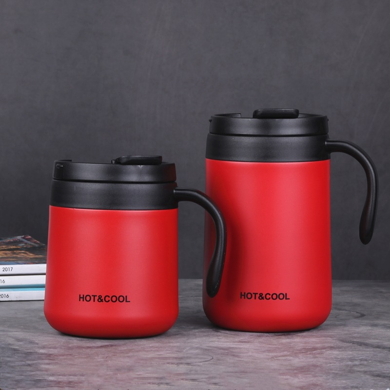 Vacuum Thermos  Cup  Stainless   Steel Double Layer Mini Tea Coffee  Cup With Lid Non-slip red