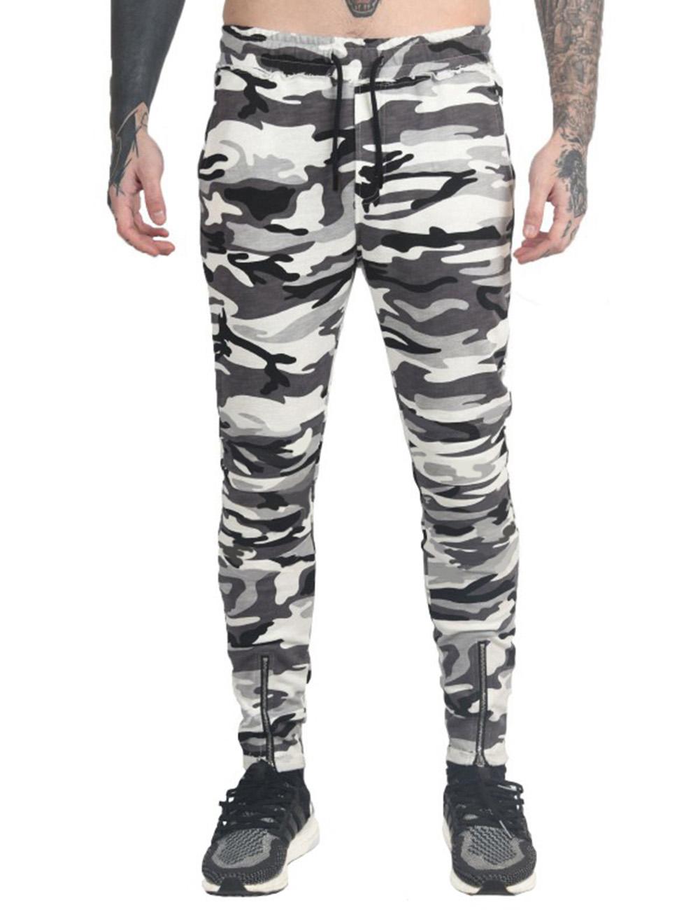 Stylish Men Camouflage Sports Trousers with Zipper Leg Opening Elastic Band Waist Long Pants Gift White Camo_M