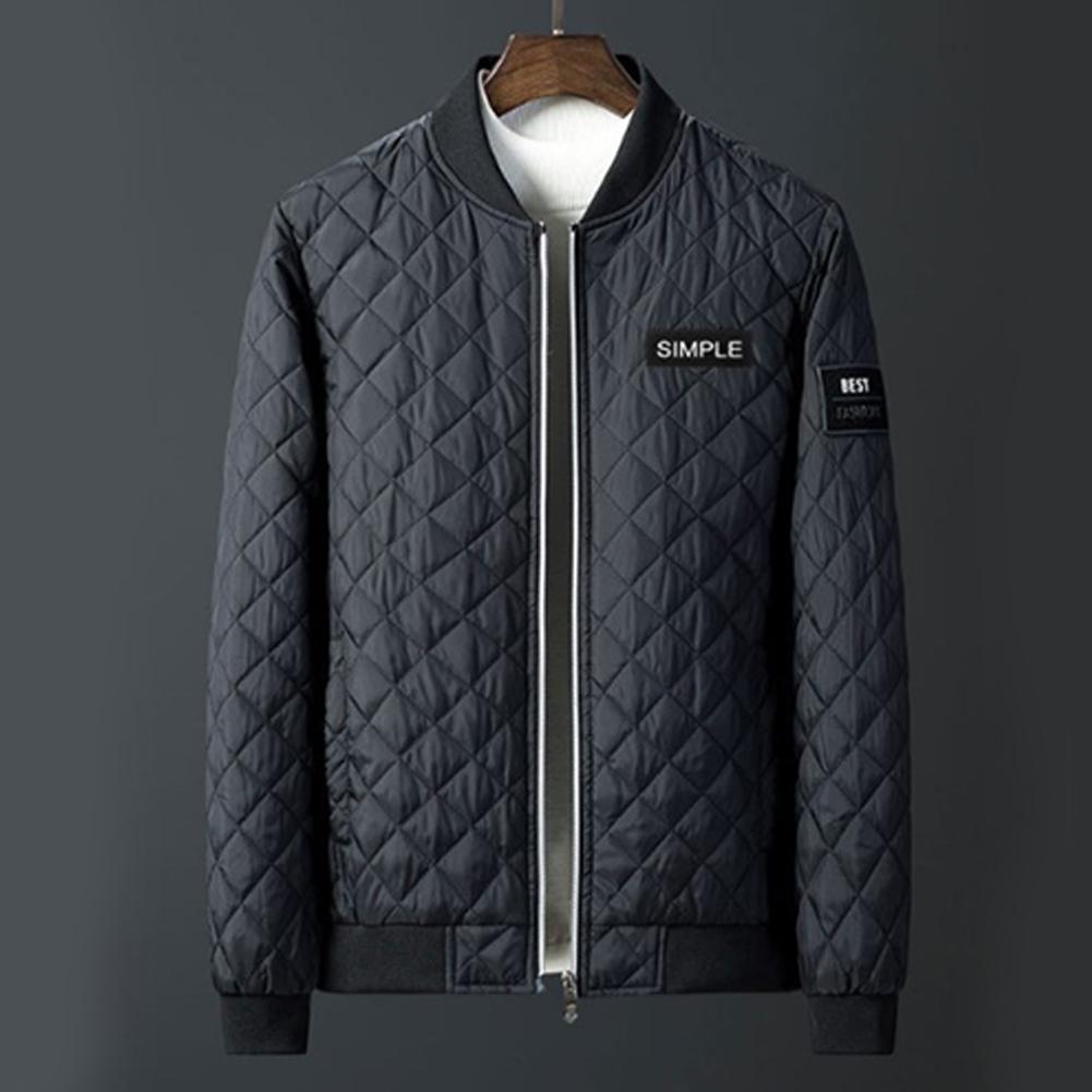 Men Winter Fashion Down Cotton Jacket Collar Jacket Cotton Coat Tops black_L