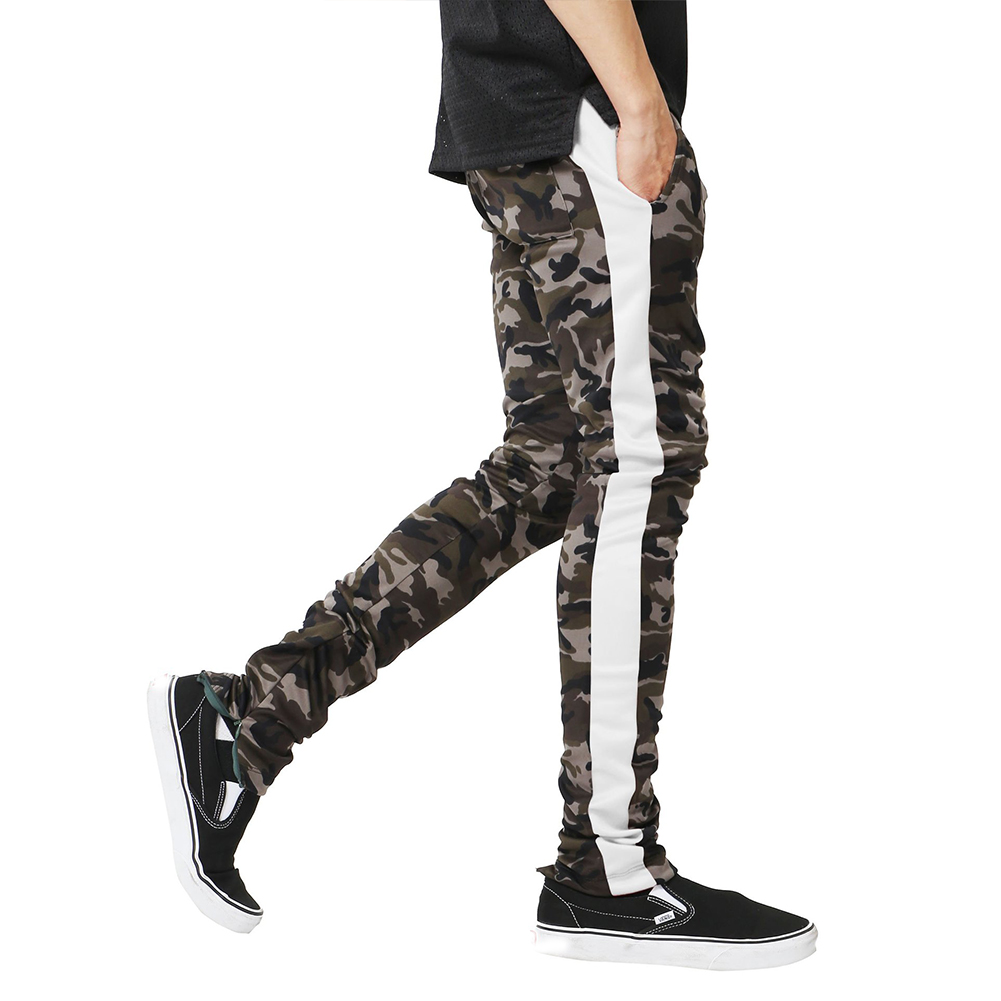 Men Casual Slim Camouflage Printing Splice Sports Pants  white_M