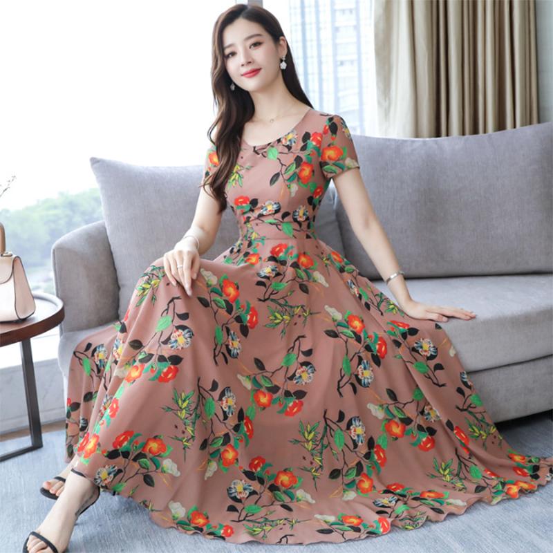 Women Summer Loose Round Collar Long Floral Pattern Short Sleeve Dress skin pink_M