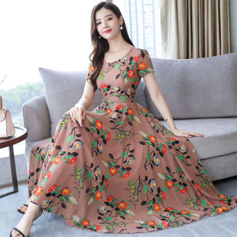 Women Summer Loose Round Collar Long Floral Pattern Short Sleeve Dress skin pink_L