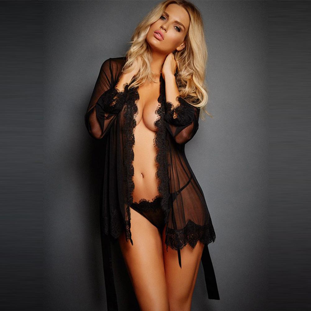 Women Lingerie Sexy Hot Porno Sleepwear Lace Underwear Sex Clothes Babydoll Erotic Transparent Dress Sexy Lingerie M_black