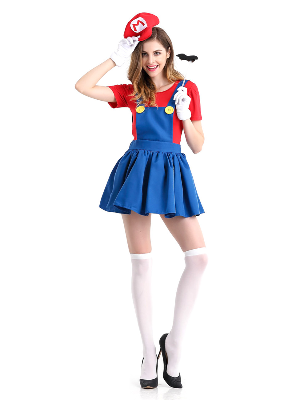 5PCS/Set Women Suspender Skirt Set Stylish Performance Costume for Halloween Fancy Dress Ball red_M