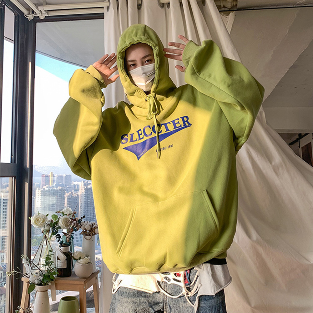 Men Women Hoodie Sweatshirt Letter Printing Fashion Loose Pullover Casual Tops Green_M