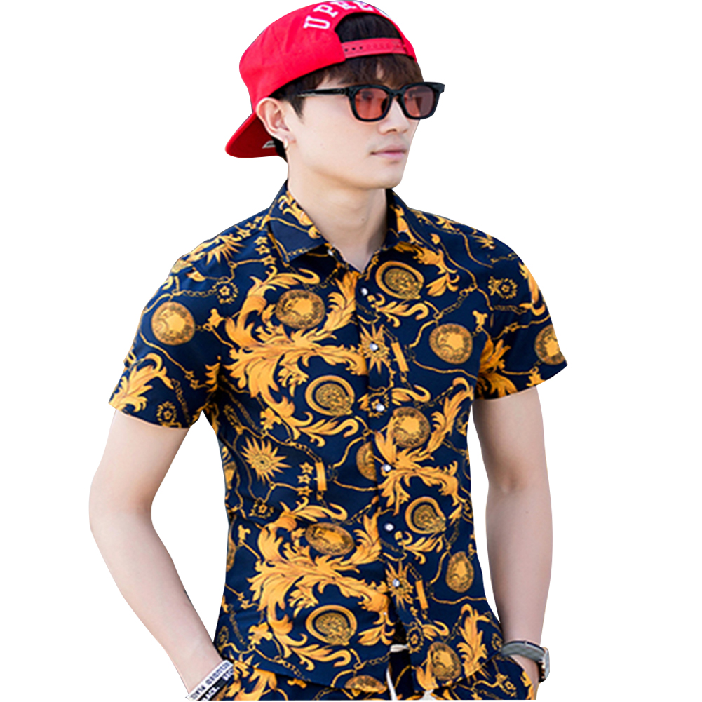 Men Summer Short Sleeve Vivid Color Printed Casual Shirt  DC06_M
