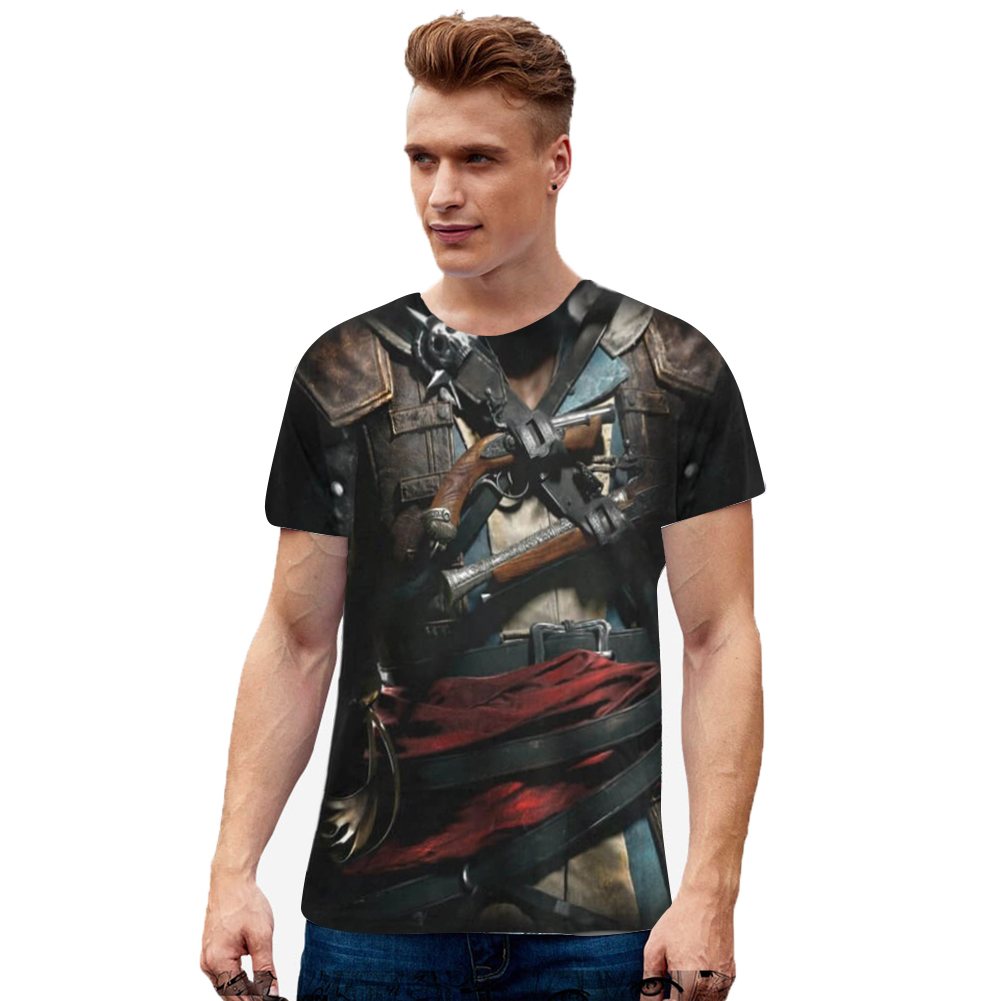 Unisex Casual Cool 3D Digital Printed Round Neck Cotton T-shirt as shown_2XL