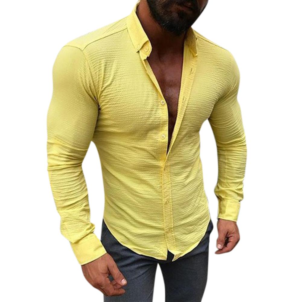 Men Long Sleeve Slim Fit Fashion Leasure Tops Button Lapel Casual Shirt yellow_XL
