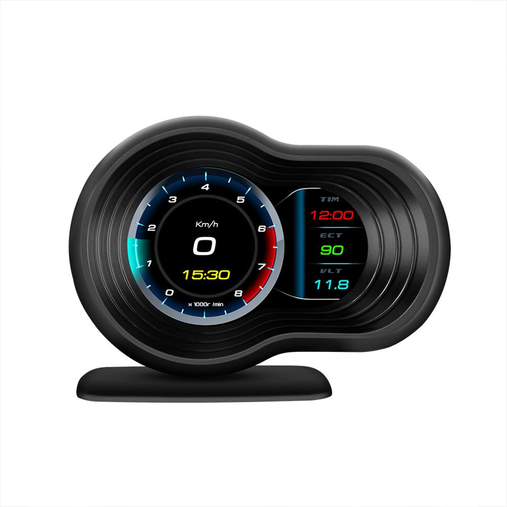 F9 Head  Up  Display Auto Display OBD2+GPS Smart Car Hud Gauge Digital Odometer Security Alarm Black