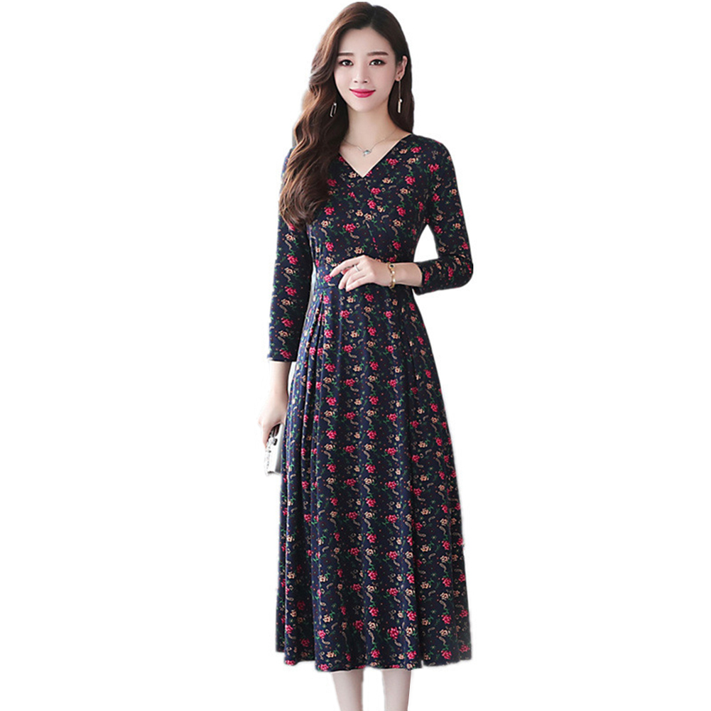 Women Summer V-collar Slim Loose Fashion Floral Large Size Long-sleeve Dress as shown_XL
