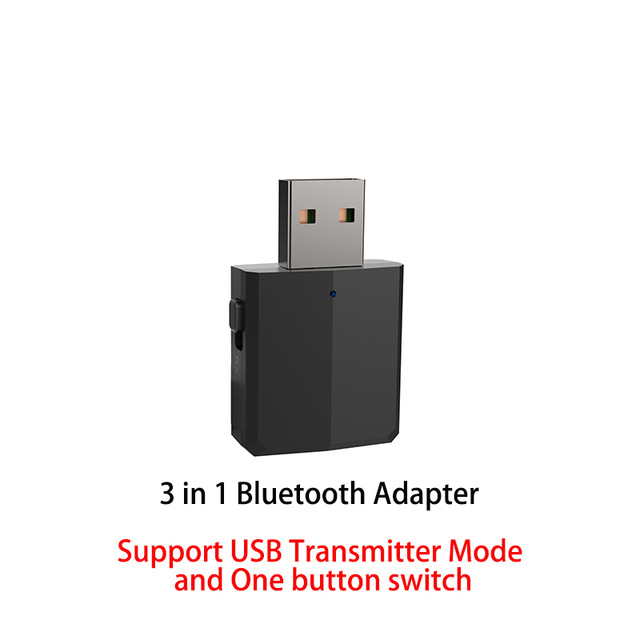 5.0 USB Bluetooth Transmitter for TV 3.5mm Mini Car Bluetooth Receiver AUX Stereo Music with Changing Switch Wireless Adapters black