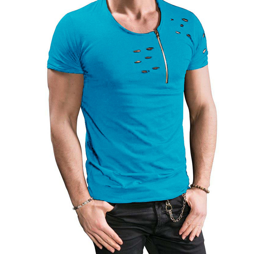 Men Slim Fit O-Neck Ripped Short Sleeve Muscle Tee T-shirt blue_L