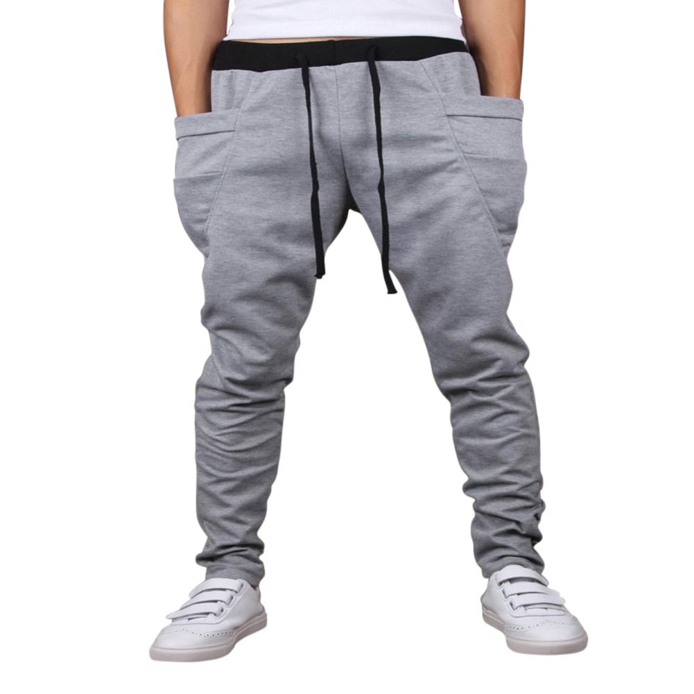 Men Solid Color Middle Waist Casual Harem Pants Light gray_XL (32-33)