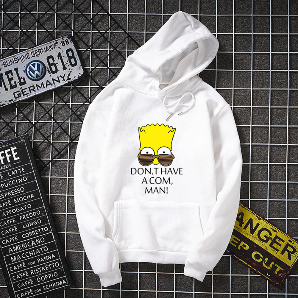 Unisex Simpson Cute Pattern Printing Hoodies Couple Pullover Hoodies white_M