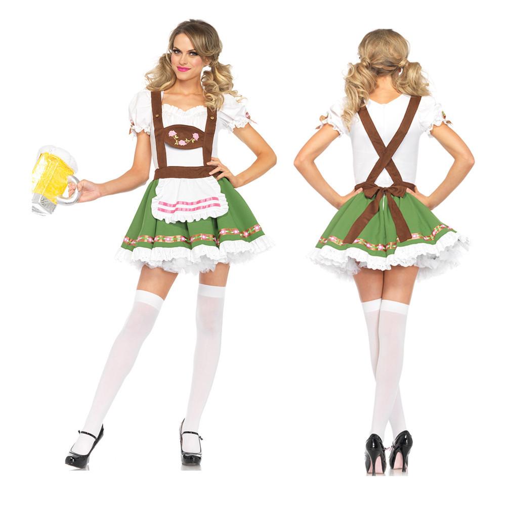 Women Oktoberfest Fun Strap Dress for Party Halloween Cosplay Costume green_XL
