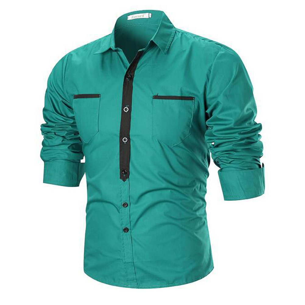 Single-breasted Leisure Shirt Slim Top Cardigan with Two Pockets for Man blue_L