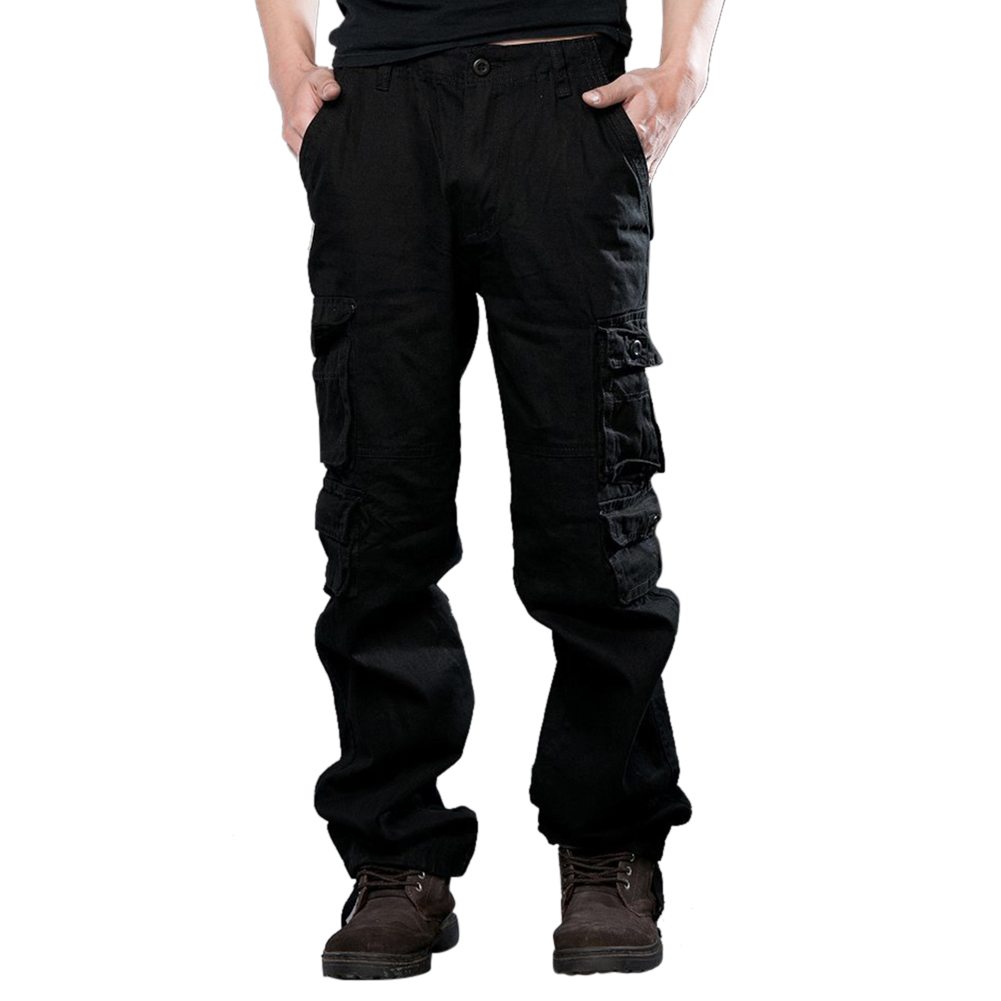 Men Camouflage Multiple Pockets Casual Long Trousers  black_34 (2.62 feet)
