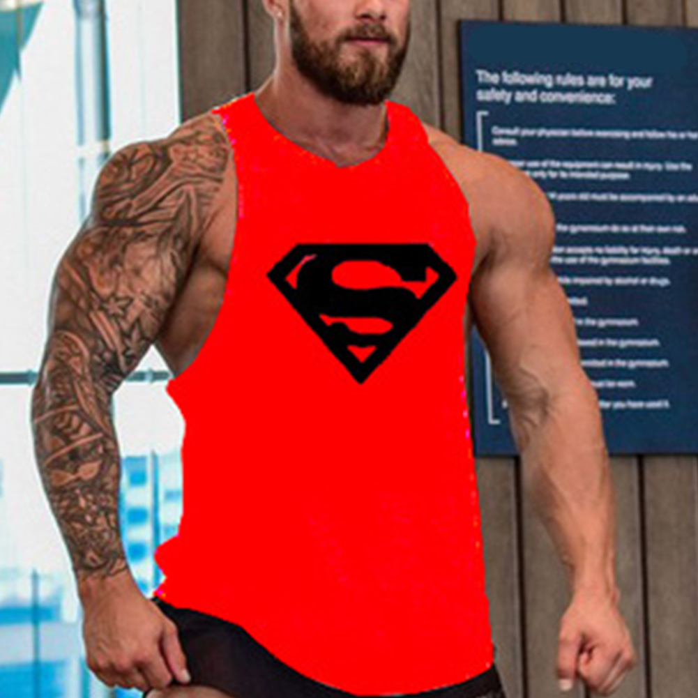 Men Gym Muscle Tank Tops Bodybuilding Shirt Sport Fitness Tops Red Black_M