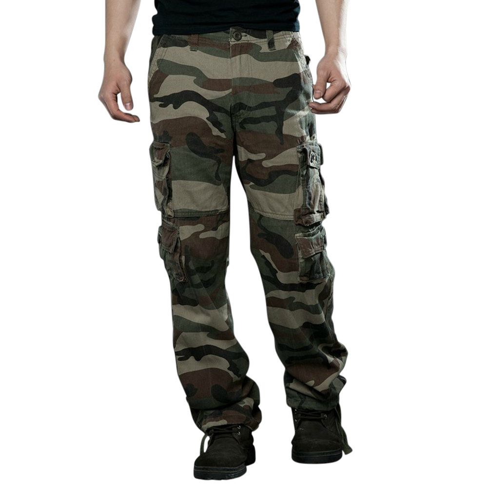 Men Camouflage Multiple Pockets Casual Long Trousers  Green camouflage_34 (2.62 feet)