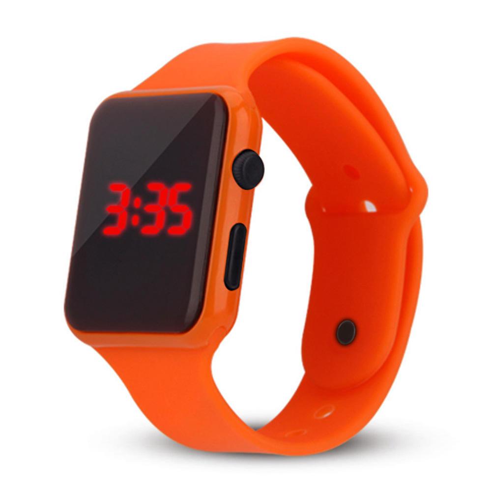 Electric LED Wristwatch Silicone Band Digital Display Watch Gifts for Boys and Girls Orange