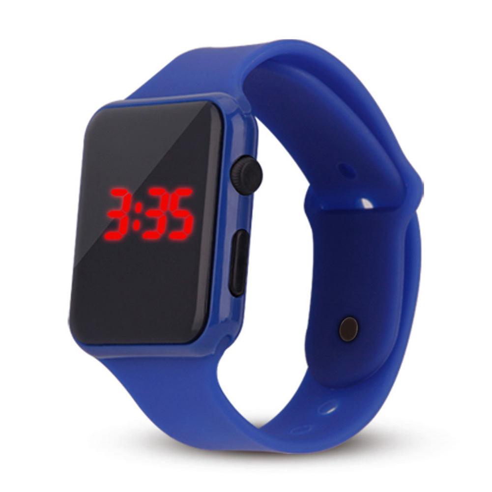 Electric LED Wristwatch Silicone Band Digital Display Watch Gifts for Boys and Girls Navy