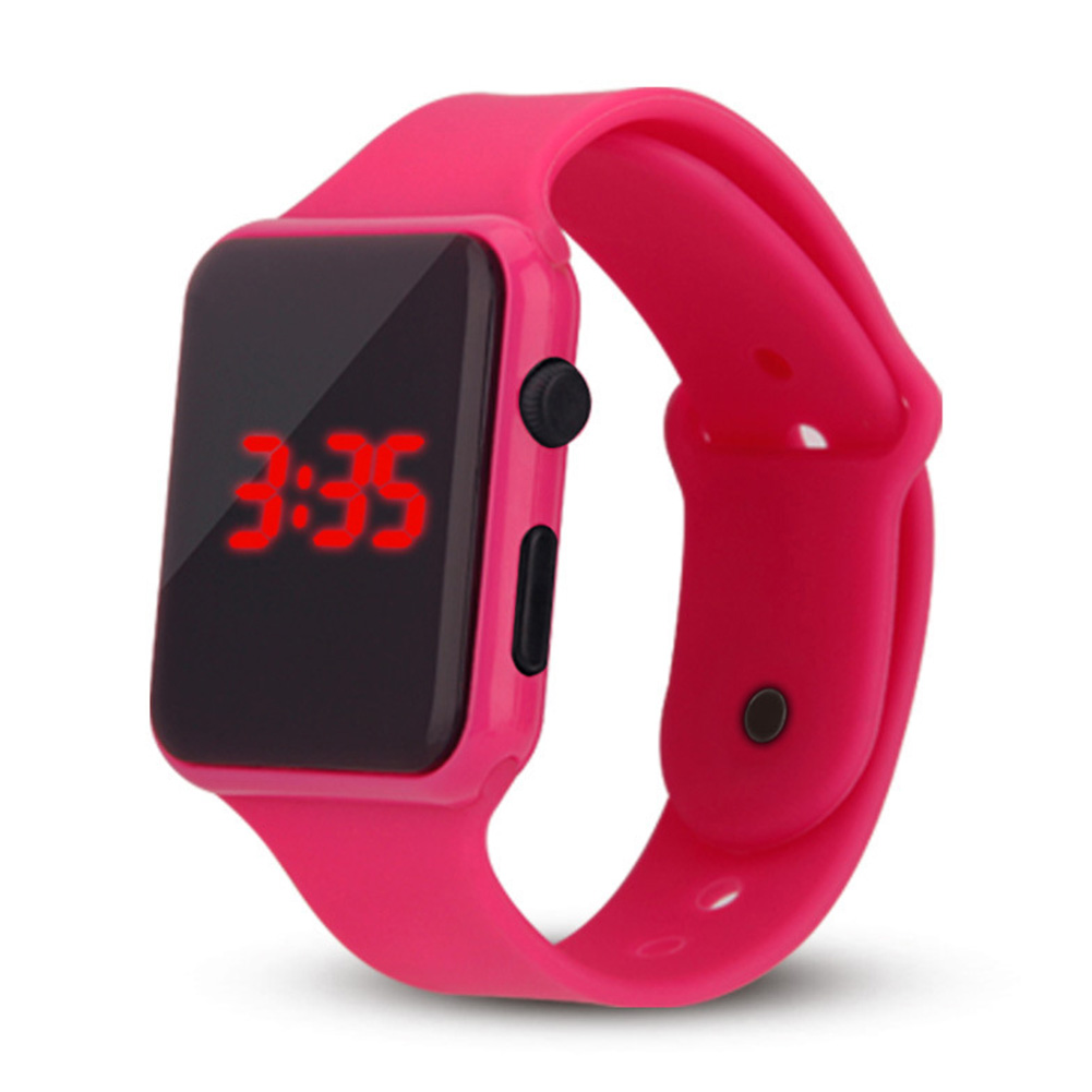 Electric LED Wristwatch Silicone Band Digital Display Watch Gifts for Boys and Girls Rose red