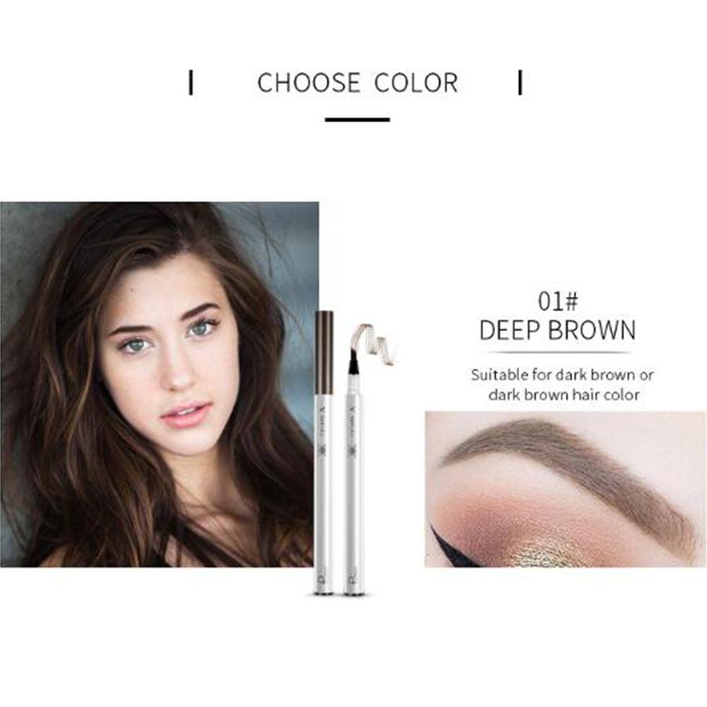 4 Head Eyebrow Tattoo Pen Waterproof Fork Tip Eyebrow Pencil Liquid Eye Brow Makeup Tool