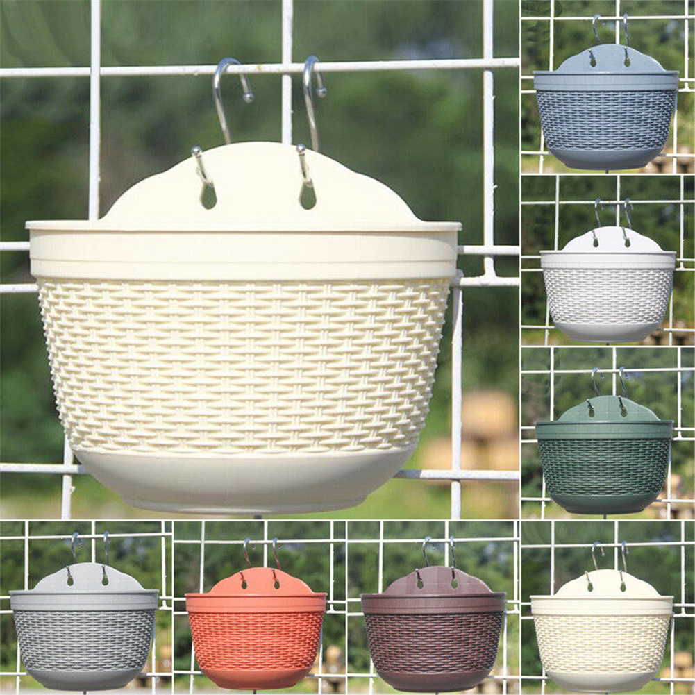 Wall Hanging Flower  Pot Garden Fence Balcony Basket Plant Potted Flower Pot Decoration White