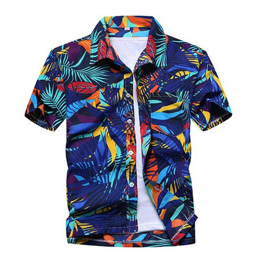 Men Summer Hawaii Quick Dry Printing Short Sleeve Loose Beach Shirt blue_XXL