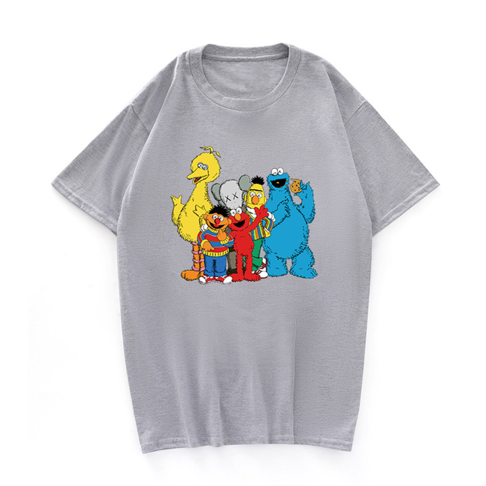 Boy Girl KAWS T-shirt Cartoon Animals Crew Neck Loose Couple Student Pullover Tops Gray_L