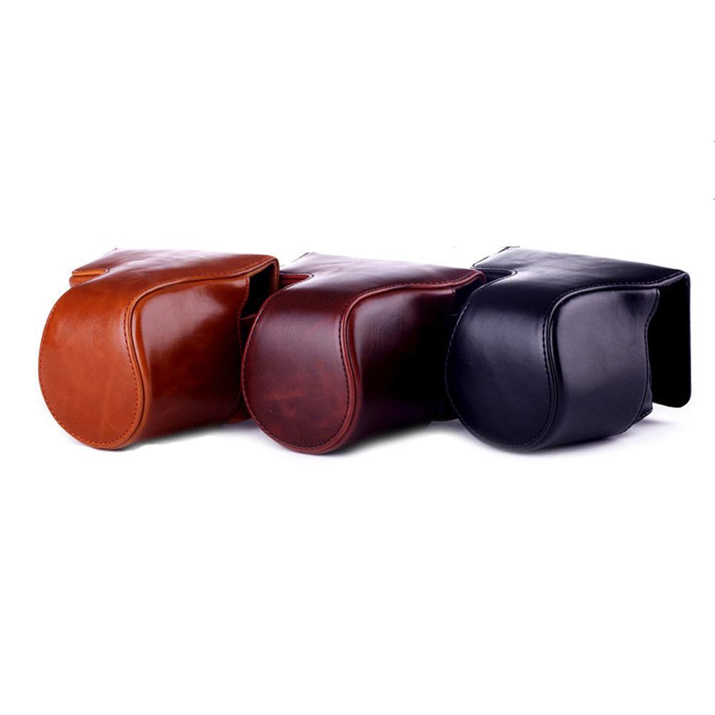 Camera Bag Suitable for Fuji X-M1 X-A1 X-A2 Camera Leather Case Brown_13CM* 13CM* 8.5CM