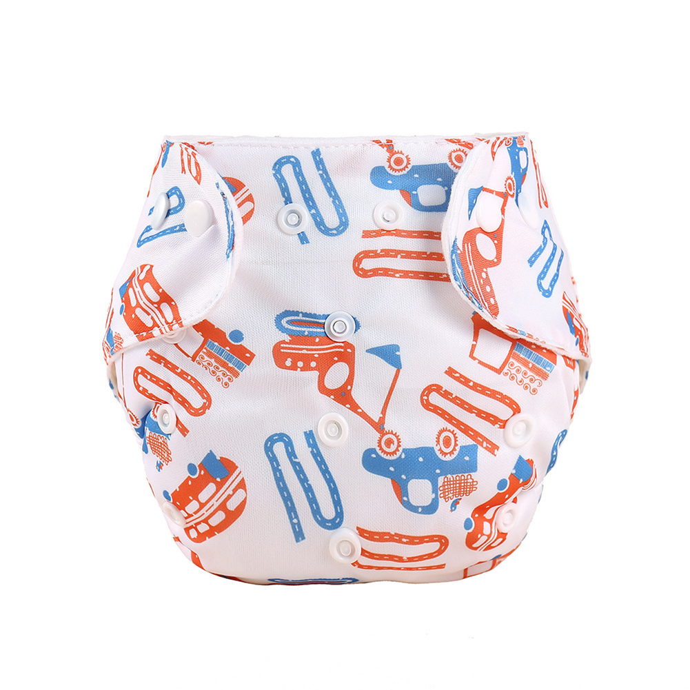 Knitted Fabric Baby Waterproof Diaper Barrier Baby Diapers  Pants Excavator_0-18 months