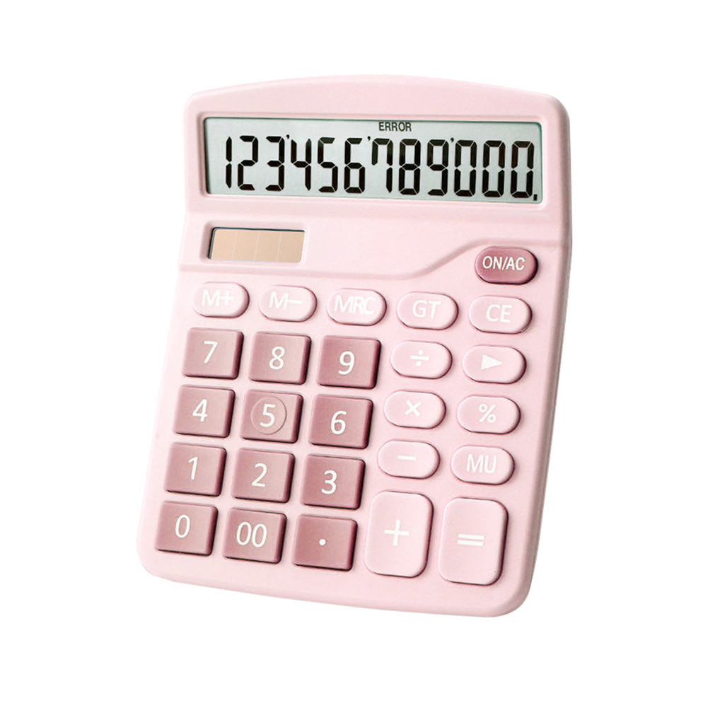 Color Calculator 12-digit Display Office Student Battery Solar Dual Power Lcd Display Basic Calculator Pink