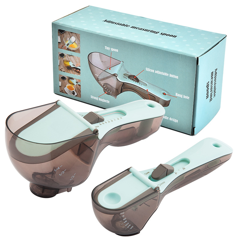 2pcs/set Measuring  Cups Multi-functional Spoons Set With Adjustable Scale Measuring Scoop Measuring spoon set