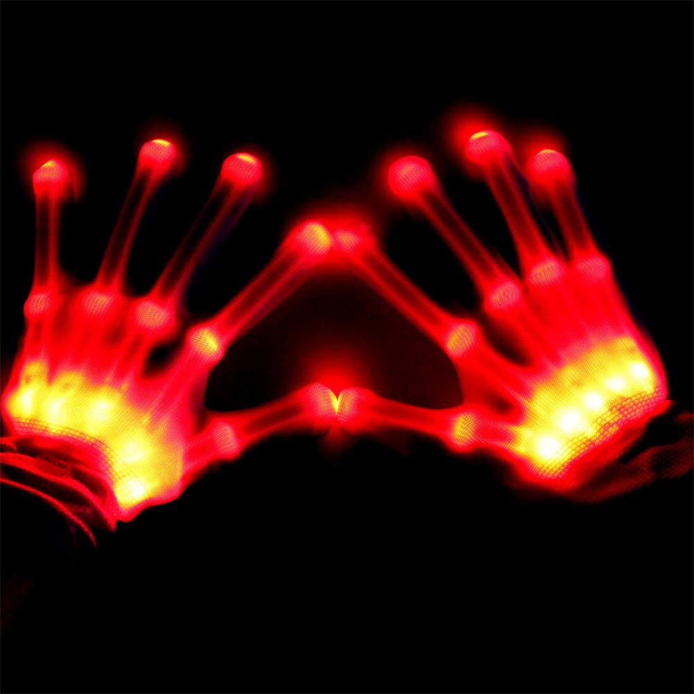 LED Color Changing Flashing Skeleton Gloves Novelty Halloween Costume Party Concert Prop red light