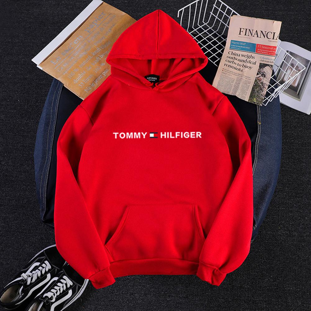Men Women Hoodie Sweatshirt Printing Letters Thicken Velvet Loose Fashion Pullover Red_M